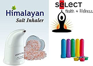 Himalayan Pink Salt Inhaler with 170g of Salt Plus 5 Salt Filled Travel Inhalers, All-Natural Respiratory Aid from Select Health & Wellness