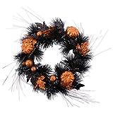 "DII CAMZ37846 Decorative Leaves 16"" Fall Front Door or Indoor Wall Décor to Celebrate Halloween & Fall Season, Glitter Pumpkin Wreath"