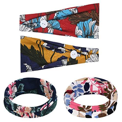 URAQT Damen Stirnbänder, 4 Stück Damen Kopfband Haarband Frauen Haarband, Yoga Laufen Stirnband Kopf Wickeln Haarschmuck für Mädchen (Dunkle Farbe)