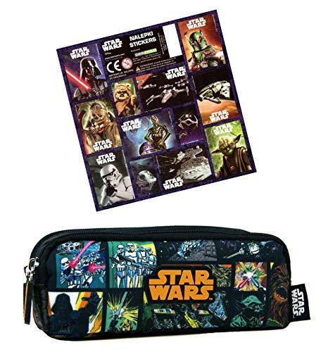 Star Wars - Astuccio doppio, 20 x 8 x 7 cm, con 12 adesivi, per la scuola