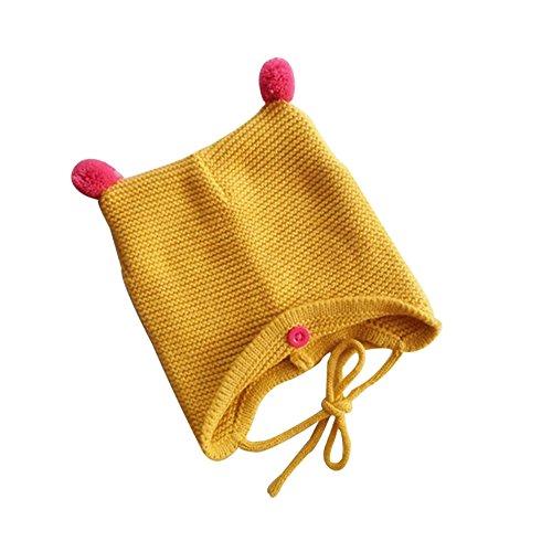 VANKER Bébé enfant Bambin Automne Hiver Laine Chaude Bonnet Tricoté Confortable Chapeau Mignon Jaune
