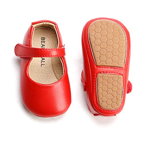 Felix & Flora Red Baby Shoes Girl 12-18 Months - Infant Baby Walking Shoes Moccasinss Rubber Sole Crib Shoes(Red,12-18 Months)