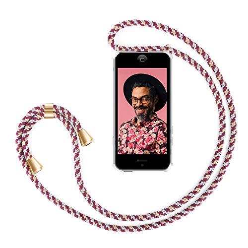 ZhinkArts Handykette kompatibel mit Apple iPhone 5 / 5S / SE (2016) - Smartphone Necklace Hülle mit Band - Handyhülle Hülle mit Kette zum umhängen in Bordeaux/Rot Camouflage