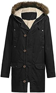AKIMPE Mens Winter Thicken Cotton Parka Jacket with Removable Hood