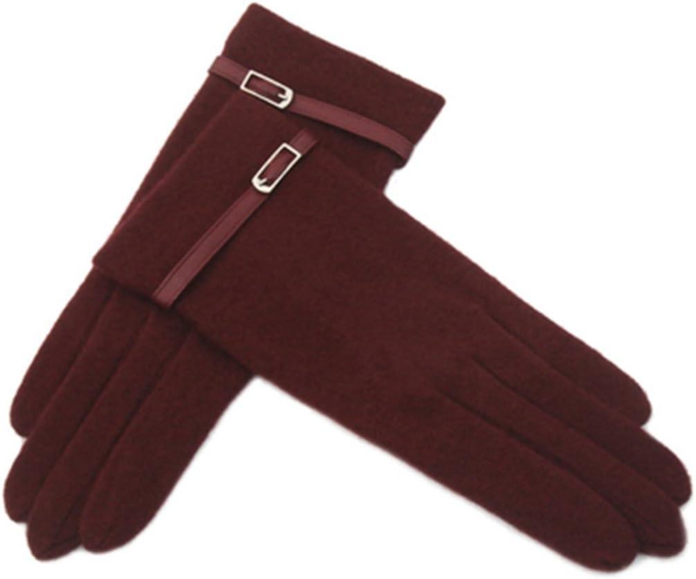 Classic Women's Autumn Winter Wool Gloves Warm Touch Screen Gloves 1 pair, Purplish Red (003)