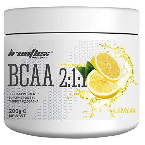 Iron Flex BCAA 2-1-1-1 Pack - Branched Chain Amino Acids in Powder - Muscle Regeneration - Anticatabolic (Lemon, 200g)