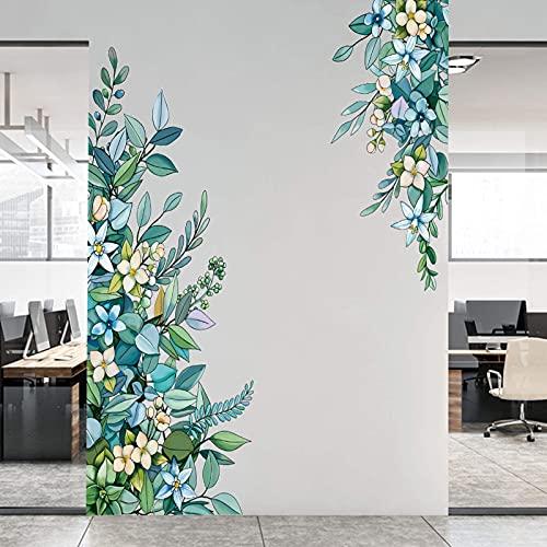 Grüne Blätter Wandtattoo mit Blumen Wandsticker, EsLuker.ly Abnehmbare Blatt Wandaufkleber DIY Hängende Rebe Wandbild für Schlafzimmer Wohnzimmer Küche Wanddeko
