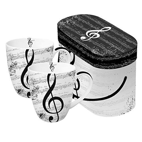 2 tazas de porcelana con diseño de clave de sol I Love Music en caja de regalo PPD 0,35 l, altura 10,8 cm, diámetro 9 cm