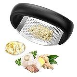 Love Planet - Exprimidor de ajos de acero inoxidable para cocina con mango ergonómico, fácil de usar y limpio, resistente al óxido (negro)