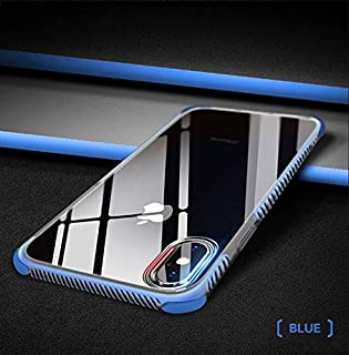 iPhone X/iPhone Xs Crystal Clear Phone Case Hybrid Shockproof Soft TPU Back Cover (Blue)