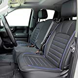 LUCKYMAN CLUB 56-SLD Seat Covers Fit for 2007-2020 Chevy Silverado Sierra 1500/2500 HD / 3500 HD Crew,Double,Extended Cab with Water Proof Faux Leather (Black & Blue Full Set)
