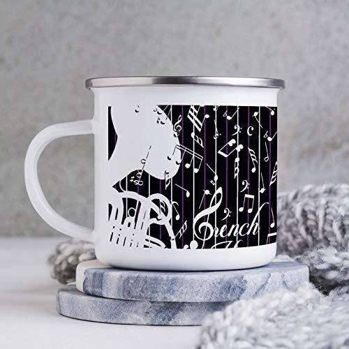 Emaille-Tasse, 284 ml, lustige Kaffeetasse, Schwarz-Weiß Musiknoten, Grafik Design, Einfarbig, Neuheit Kaffeetasse, Kaffeetasse, Tasse, Tasse, für Valentinstag / Geburtstag