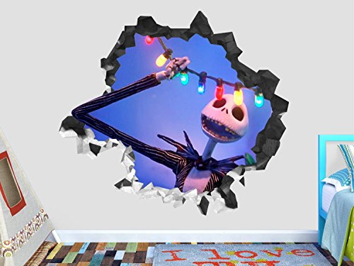 Nightmare Before Christmas Illuminated Wall Decal Sticker - Kids Wall Decal Decor - Art 3D Vinyl Wall Decal - GS328 (Small (Wide 22' x 16' Height))