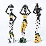 WQQLQX Statue 3 Stücke/Satz afrikanischer weiblicher Statuen Harz Handwerk Skulpturen Home Zubehör Desktop Ornamente Dekoration Zubehör Modell Figuren Geschenke Skulpturen (Color : Yellow)