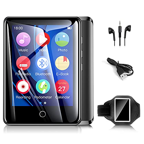 32GB Mp3 Player with Armband, Bluetooth Mp3 Player with FM Radio and Speaker Built in, Portable Music Player with Full Touch Screen Recorder/Pedometer/E-Book/Video Players/Timer Support up to 128GB