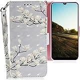 CLM-Tech Hülle kompatibel mit Motorola Moto E6 Plus - Tasche aus Kunstleder - Klapphülle mit Ständer & Kartenfächern, Blüten weiß grau