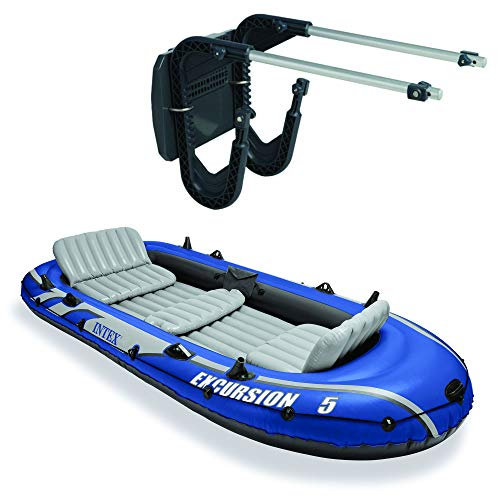 Intex 5 Person Inflatable Fishing Boat Set with 2 Oars, Air Pump with Mount Kit