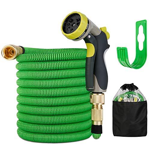 Flexibler Gartenschlauch | ausgedehnt 15m |Wasserschlauch flexibel mit 3-Fach Latexkern | dehnbarer flexiSchlauch | alle Verschraubungen aus hochwertigem Messing (Grün)