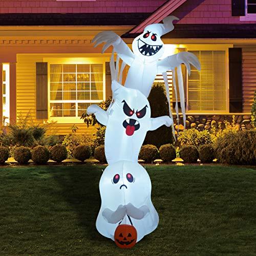 GOOSH 10 Foot High Halloween Inflatable Overlap Ghost Yard Decoration, Indoor Outdoor Garden Halloween Decoration.
