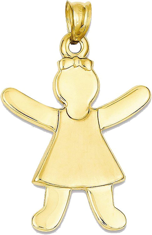 Girl Charm  14k Yellow gold  22x34mm  1.6gr