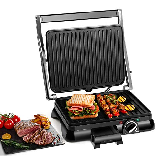 Aigostar Panini Sandwich Press, 2000W High Power Toastie Maker, Non-Stick Coated Plates for Whole Family, 180° Flat Open, Stainless Steel, Temperature Controller, Removable Drip Tray - Samson 30MAZ.