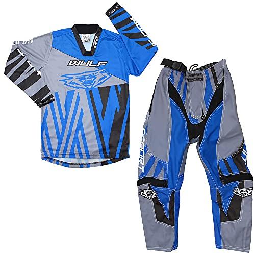 Wulf Sport Cub Ventuno Kids Race Motocross Traje Moto ATV Quad Bike MX Sport Camisas Pantalones Azul: Camisa (5-7 años) Pantalones: cintura de 20 pulgadas