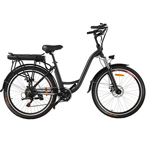 Speedrid ebike 26' Electric City Bike with Removable 12.5Ah Lithium-ion Battery, Low Frame Commuter e-bike, Electric Bicycle for Women/Men/Teens/Adults. (Black)