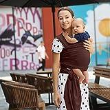 QWESHTU Fular Portabebés – Canguro para Bebés Recién Nacidos Y Niños hasta 20 Kg – Manos Libres - Porta Bebés De Tela Suave Y Elástico, Portabebés, Marrón