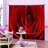 FAIEK Cortinas Opacas Cortina Aislantes Termicas - Rollo De Rosa Roja - Cortina De 2 Piezas Dormitorio Reducir El Ruido Modernos Cortinas - 110 (W) X215 (H) Cm * 2 Partes