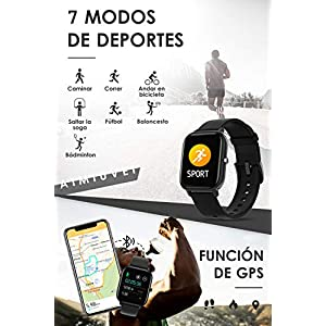 AIMIUVEI Smartwatch, Reloj Inteligente IP67 con Pulsómetro, Presión Arterial, 7 Modos de Deportes, Monitor de Sueño Caloría 1.4 Inch Pantalla TáctilSmartwatch para Mujer y Hombre