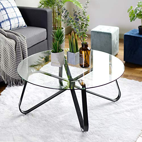 Round Coffee Table for Living Room, 31.5-inch Modern Sofa Side End Table with Tempered Glass Top & Metal Legs, Accent Cocktail Tea Table Easy Assembly and Clean, 31.5 x 31.5 x 15.6 inches, Black