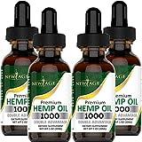 Hemp Oil Extract - 4 Pack - 1000 Natural Hemp - Grown & Made in USA - 100% Natural Hemp Drops - Helps with Sleep, Skin & Hair.