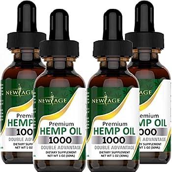 Hemp Oil Extract - 4 Pack - 1000 Natural Hemp - Grown & Made in USA - Natural Hemp Drops - Helps with Sleep Skin & Hair.