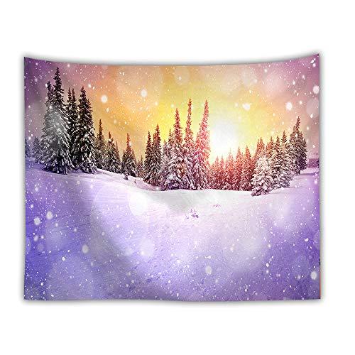 DROMEZ Invierno Tapiz de Pared,Mural Puesta De Sol Paisaje De Nieve Naturaleza Montañas Fotomural Decorativo,Tapestry Decoración de Pared para Dormitorio Sala de Estar,C,130 * 150