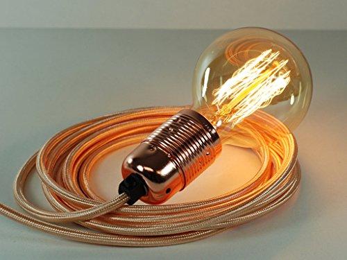 Pendelleuchte mit 4m langem Kabelstecker aus rotgoldenem Stoff, mit Kupfer-Lampenfassung E27 und kugelförmiger Edison-Birne