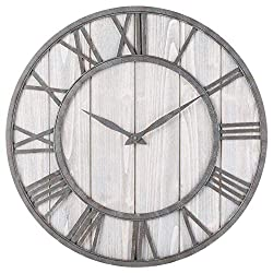 Toright Farm House Metal & Solid Wood Wall Clock Kitchen Wall Clock (Whitewash, 16-inch)