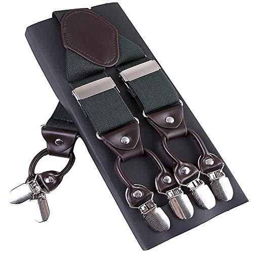 DIAOKUD Bretels Suspenders, Elastische 6-Clips Groene Suspenders Suspenders Leer Mode Casual Broek Mannelijke Vintage Band Vader/Man Gift 3.5 * 120 Cm