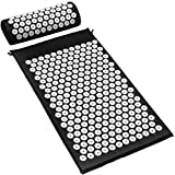 ACUPRESSURE MASSAGE MAT AND NECK PILLOW (BLACK) — Provides thousands of stimulation points, for immediate back pain relief it also improves sleep, relieves stress, aches, pains, muscle tension, Blood Circulation and energy levels GREAT FOR HEALING —T...