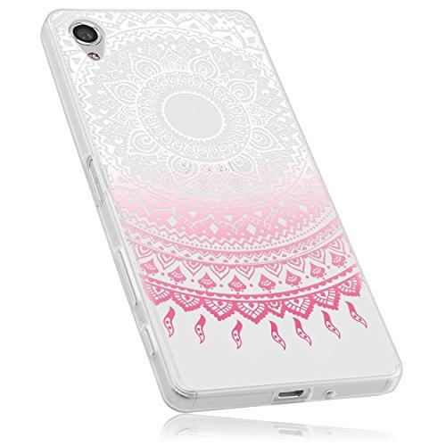mumbi Hülle kompatibel mit Sony Xperia X Handy Hülle Handyhülle mit Motiv Mandala rosa, transparent