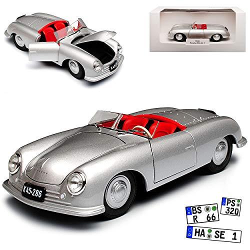 Welly Porsche 356 Nr 1 Urmodell Cabrio Silber mit Kennzeichenhalterung Porsche Museum 1/24 Modell Auto