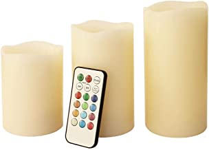 Electric candles with 12 light colors and remote control (Set of 3)