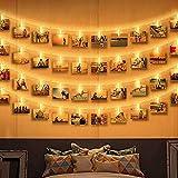 Guirlande Lumineuse Photo, Zorara 6M 40 LEDs Guirlande Led Interieur Chambre Fonctionne à Piles, Photo Clip Accroche Porte Photo Mural pour Mémos Photo, Fête, Décoration, Mariage (Blanc Chaud)