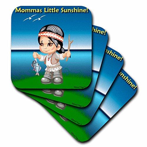 3dRose CST_55539_1 Untersetzer, Indianer-Momas Little Sunshine, 4 Stück