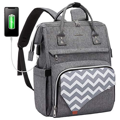 LOVEVOOK Laptop Rucksack Damen 15,6 Zoll Laptopfach Schulrucksack Stylischer Daypack mit USB Ladeanschluss, Wasserdicht für Arbeit Schule Universität Grau