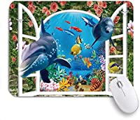 NIESIKKLAマウスパッド 海洋動物イルカ海洋生物熱帯の風景コーラルヴァインレンガの壁の外花 ゲーミング オフィス最適 高級感 おしゃれ 防水 耐久性が良い 滑り止めゴム底 ゲーミングなど適用 用ノートブックコンピュータマウスマット