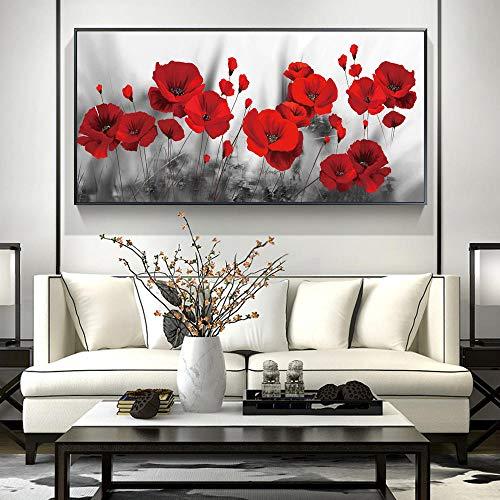 Coquelicot Fleur Toile tableau Peinture Abstraite Murale Art Decoration Affiche Fleur Art Tableaux Moderne Salon Chambre Decoration Murale 50 × 100 cm Sans Cadre