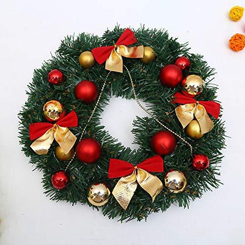DHTOMC Coronas artificiales de 30 cm, decoraciones navideñas de Papá Noel, lazo, agujas de pino, para colgar en la pared, decoración de ratán, para Navidad, hogar, pared, ventana