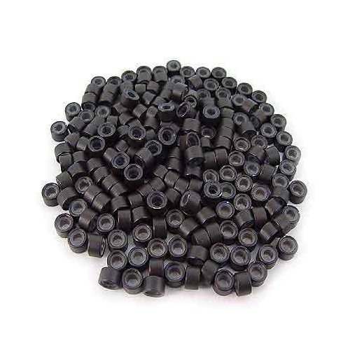 TOOGOO(R)200 dunkelbraune Haare Silikon Ring 5 mm fuer Haarverlaengerung
