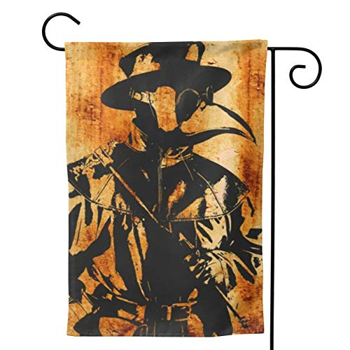 Voglawear Distressed Plague Doctor Artwork Steampunk Style Garden Yard Flag Vertical Printing Double Sided Yard Outdoor Decorative