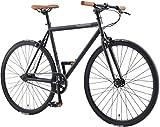 BIKESTAR Bicicleta de Paseo, Single Speed 700C Ruedas 28' | Bici de Carretera Cuadro 53 cm Retro Vintage Bici de Ciudad para Hombres y Mujeres | Negro